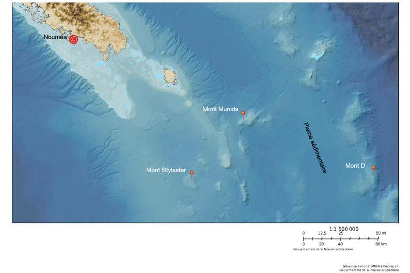 carte des Monts sous-marins étudiés au cours de la campagne KANADEEP II